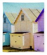 Mersea Island Beach Hut Oil Painting Look 6 Fleece Blanket