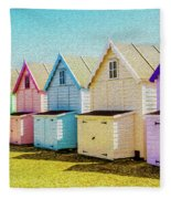 Mersea Island Beach Hut Oil Painting Look 9 Fleece Blanket