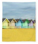 Mersea Island Beach Huts, Image 1 Fleece Blanket