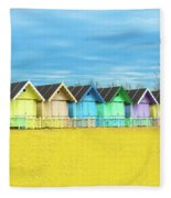 Mersea Island Beach Huts, Image 2 Fleece Blanket