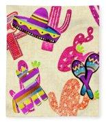 Mexican Mural Fleece Blanket
