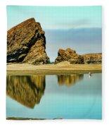 Meyers Beach Reflections - Oregon  Fleece Blanket