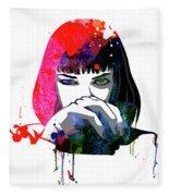 Mia Snorting Watercolor Fleece Blanket