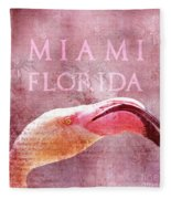 Miami Florida- Pink Flamingo Fleece Blanket