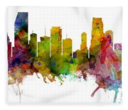 Miami Florida Skyline Panoramic Fleece Blanket