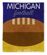 Michigan Football Minimalist Retro Sports Poster Series 001 Fleece Blanket