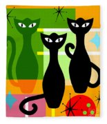 Mid Century Modern Abstract Mcm Bowling Alley Cats 20190113 Square Fleece Blanket