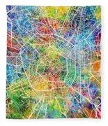 Milan Italy City Map Fleece Blanket