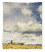 Minimal Mountaintop Meadow Fleece Blanket