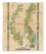 Mississippi River Historic Map Lousiana New Orleans Baton Rouge Map Farming Plantation Hand Painted  Fleece Blanket