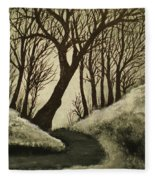 Misty Dawn In Early Winter Fleece Blanket
