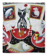 Monaco Cats Red Fleece Blanket