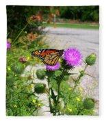 Monarch Butterfly Danaus Plexippus On A Thistle Fleece Blanket