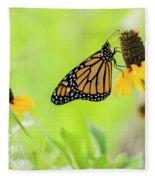 Monarch On Wildflowers Fleece Blanket