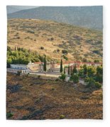 Monastery Agion Anargiron Above Argos Fleece Blanket