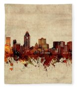 Montreal Skyline Sepia Fleece Blanket