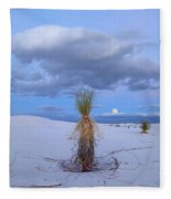 Moon And Soaptree Yucca, White Sands Fleece Blanket