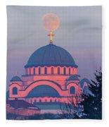 Moon On Top Of The Cross Of The Magnificent St. Sava Temple In Belgrade Fleece Blanket