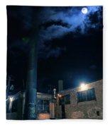 Moon Over Industrial Chicago Alley Fleece Blanket