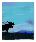 Moose - At - Sunset Fleece Blanket