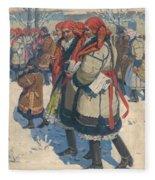 Moravian Slovaks In The Winter Fleece Blanket