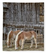 Horses By The Barn Sugarbush Farm Fleece Blanket