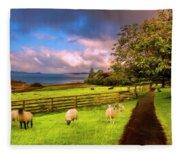 Morning Grazing Painting Fleece Blanket