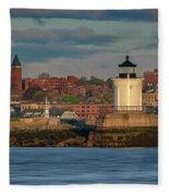 Morning In Portland Harbor Fleece Blanket