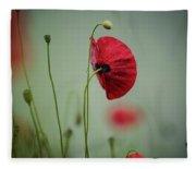 Morning Poppy Flower Fleece Blanket