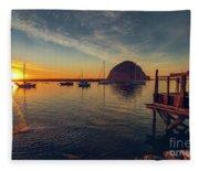 Morro Bay Harbor Sunset Fleece Blanket