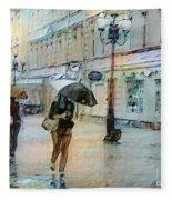 Moscow In The Rain Fleece Blanket