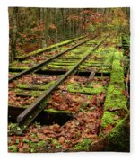 Mossy Train Track In Fall Fleece Blanket