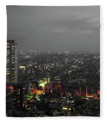 Mostly Black And White Tokyo Skyline At Night With Vibrant Selective Colors Fleece Blanket