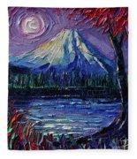 Mount Fuji - Textural Impressionist Palette Knife Impasto Oil Painting Mona Edulesco Fleece Blanket