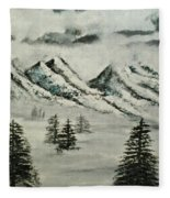 Mountain Foggy Dawn - In Abstract Realism Fleece Blanket