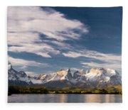Mountain Range At Sunset Seen From Rio Fleece Blanket