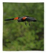 Mr. Red-winged Blackbird In-flight Fleece Blanket