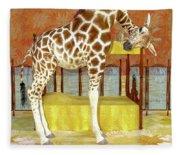 Ms Kitty And Her Giraffe  Fleece Blanket