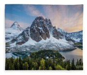 Mt Assinniboine Sunset Fleece Blanket