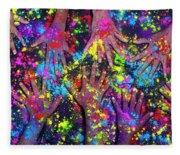 Multicoloured Powder Hands Panoramic Fleece Blanket