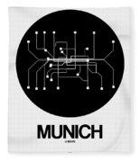 Munich Black Subway Map Fleece Blanket