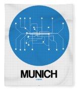 Munich Blue Subway Map Fleece Blanket