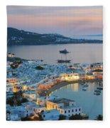 Mykonos Town At Sunset Mykonos Cyclades Greece  Fleece Blanket