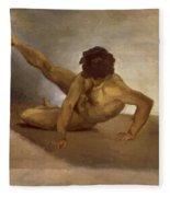 Naked Man Reversed On The Ground Fleece Blanket
