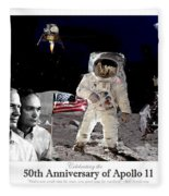 Nasa 50th Anniversary Of The Apollo 11 Lunar Landing By Artist Todd Krasovetz Fleece Blanket