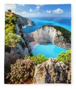Navagio Bay Fleece Blanket