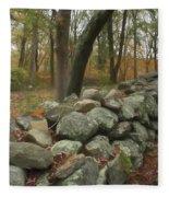 New England Stone Wall 1 Fleece Blanket by Nancy De Flon