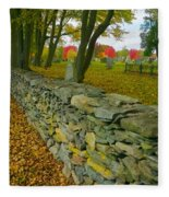 New England Stone Wall 2 Fleece Blanket by Nancy De Flon