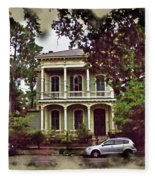 New Orleans Home In Watercolor Fleece Blanket