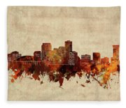 New Orleans Skyline Sepia Fleece Blanket